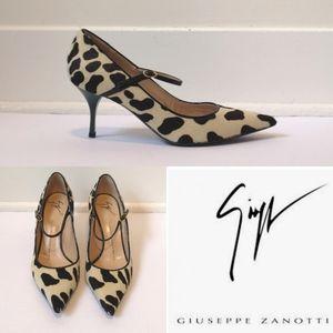Giuseppe Zanotti pony hair animal print low heels